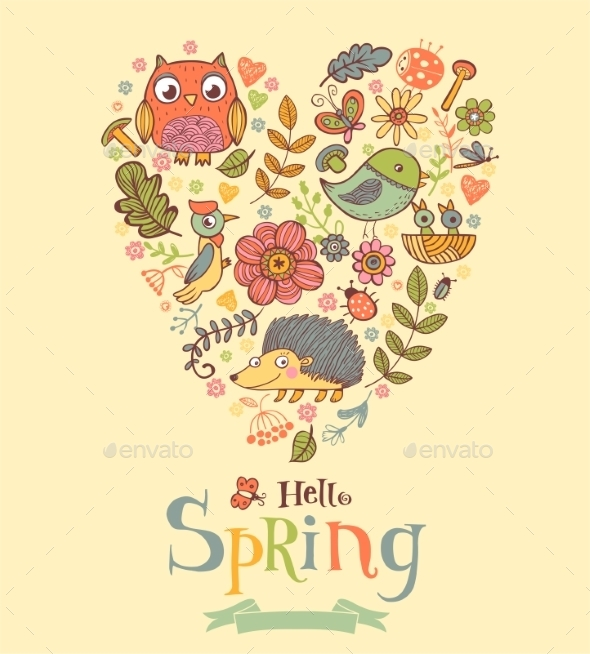 Hello Spring Banner In Doodle Style - Flowers & Plants Nature