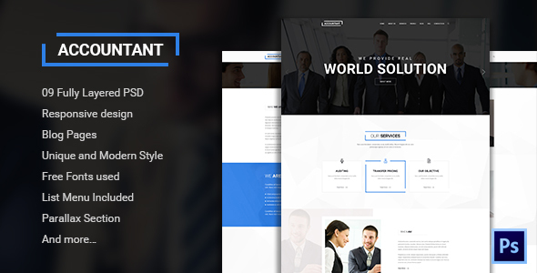 Accountant - Bootstrap PSD Template - Corporate PSD Templates