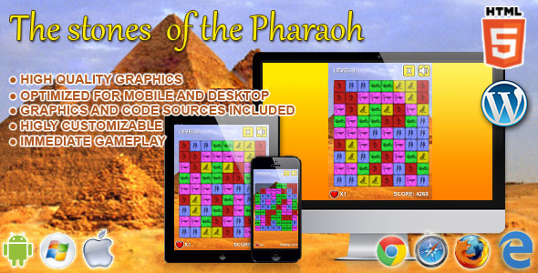 The Stone of the Pharaoh - HTML5 Match 3 Game - CodeCanyon Item for Sale