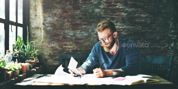 Man Working Determine Workspace Lifestyle Concept - Stock Photo - Images