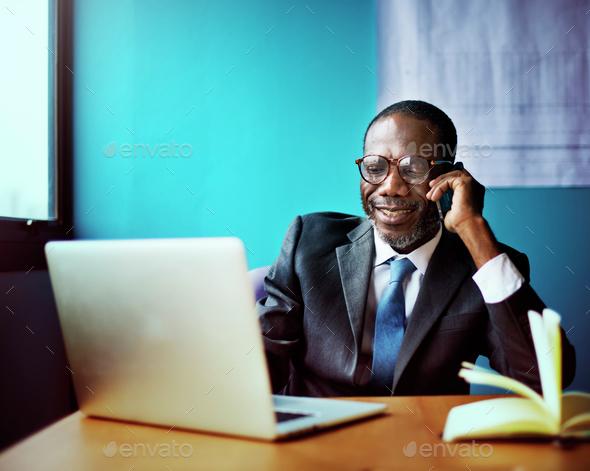 Businessman Talking Mobile Phone Communication Concept - Stock Photo - Images