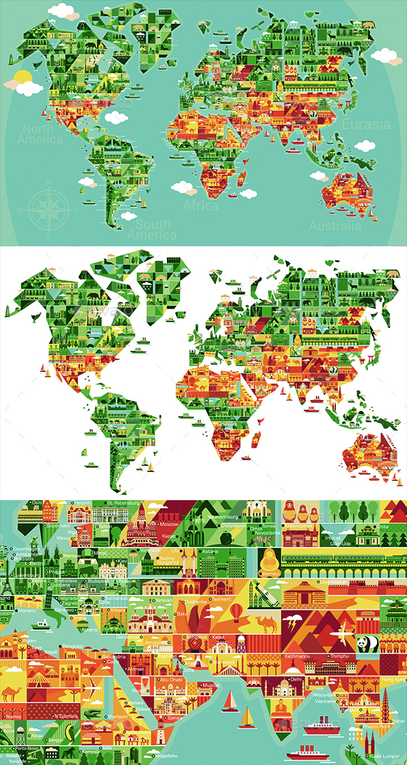 Cartoon Map of the World - Travel Conceptual