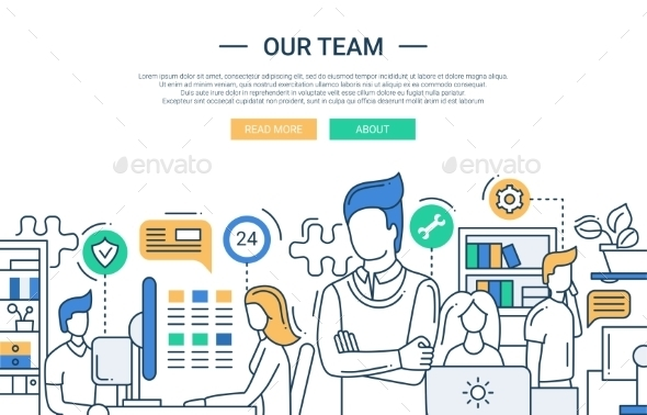 Our Team Line Flat Design Banner With Office - Backgrounds Business