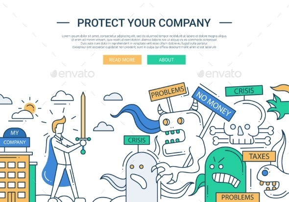Protect Your Company Line Flat Design Banner - Web Technology