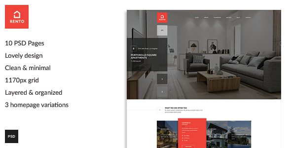 Rento - Real Estate PSD Theme - PSD Templates