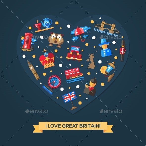 I Love Great Britain Heart Card - Travel Conceptual