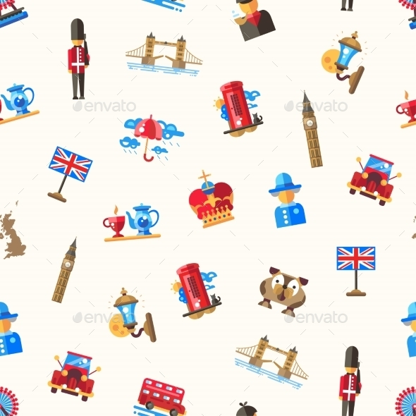 Travel To Great Britain Pattern - Travel Conceptual