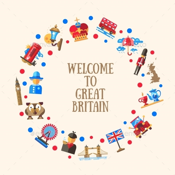 Welcome To Great Britain Circle Card - Travel Conceptual