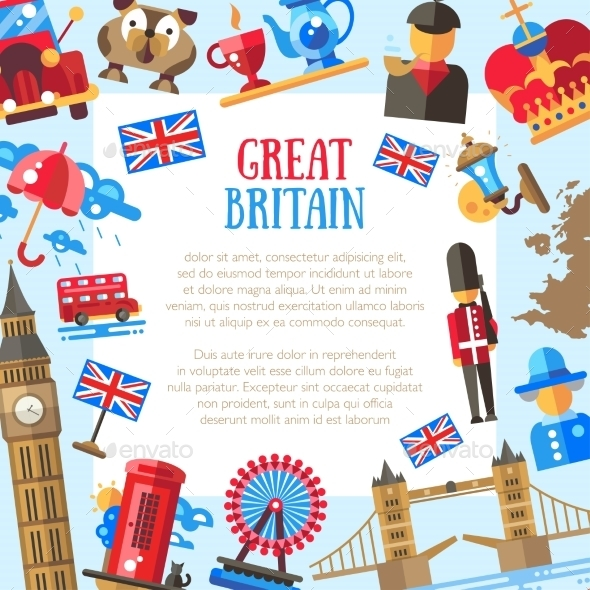 Great Britain Travel Card Template With Famous - Travel Conceptual