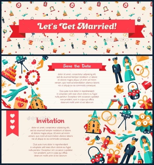 Flat Design Wedding And Marriage Invitation - Weddings Seasons/Holidays