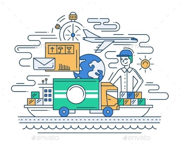 Delivery Service Line Flat Design Illustration - Miscellaneous Conceptual