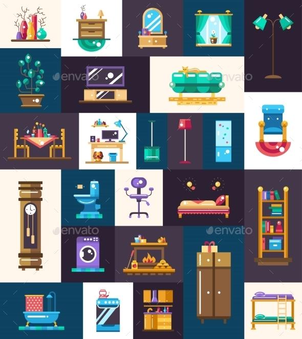 Flat Design Domestic Furniture Interior Icons - Decorative Symbols Decorative