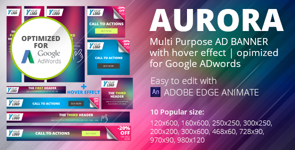 HTML5 Animated Banner Templates | «AURORA» - CodeCanyon Item for Sale