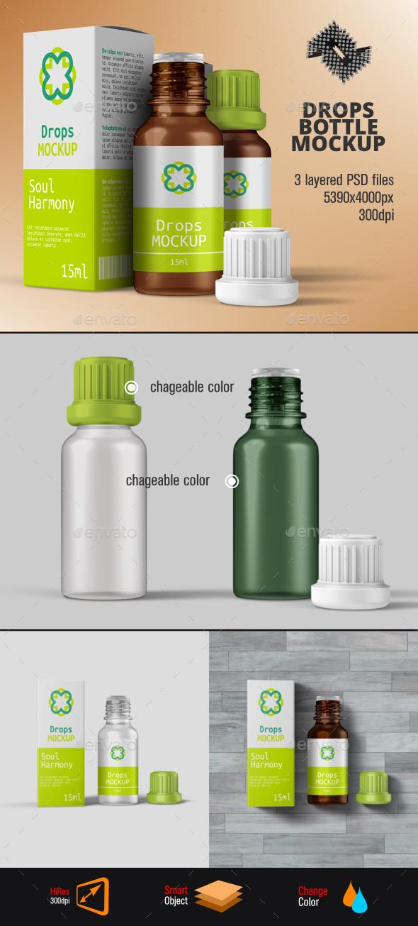 Herbal Drops Bottle & Box Mockup - Packaging Product Mock-Ups