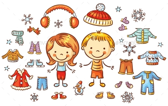 Winter Clothes Set For a Boy And a Girl - People Characters