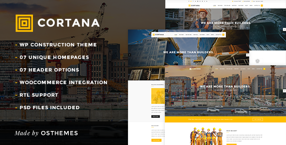 Cortana - Building and Construction WordPress Theme