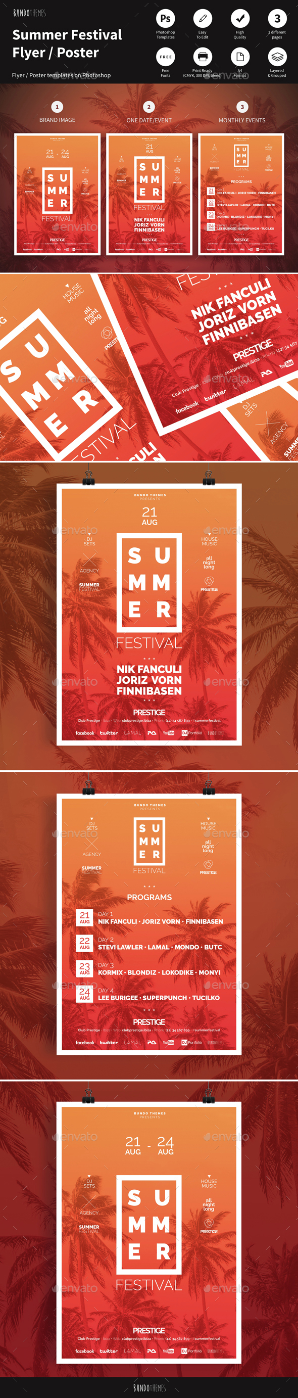 Summer Festival Flyer / Poster - Concerts Events