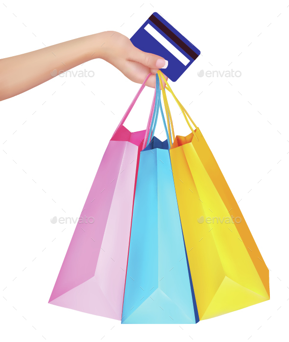 Hand Holding Credit Card and Shopping Bags - Commercial / Shopping Conceptual