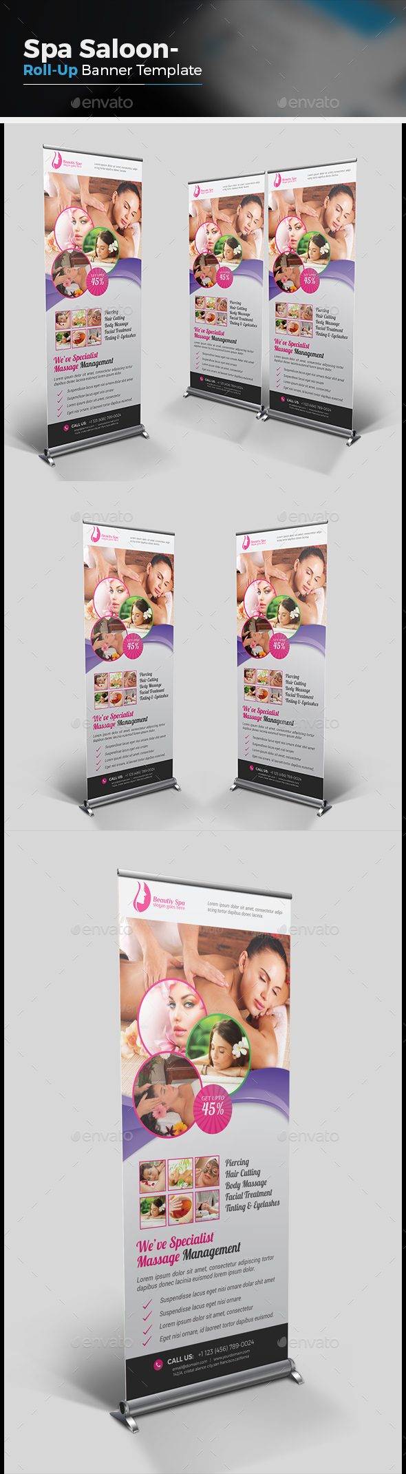 Spa Roll Up Banner Graphics, Designs & Templates