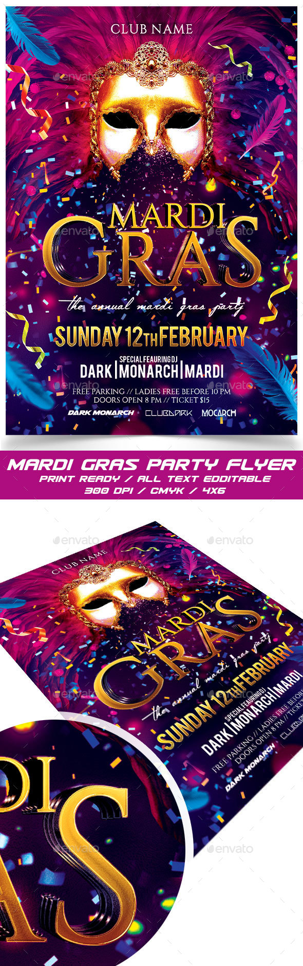 Mardi Gras Party - Events Flyers
