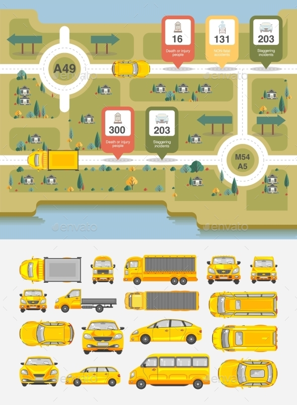 Set Cars And Highways Map - Travel Conceptual