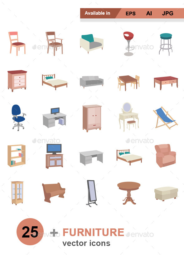 Furniture color vector icons - Man-made objects Objects