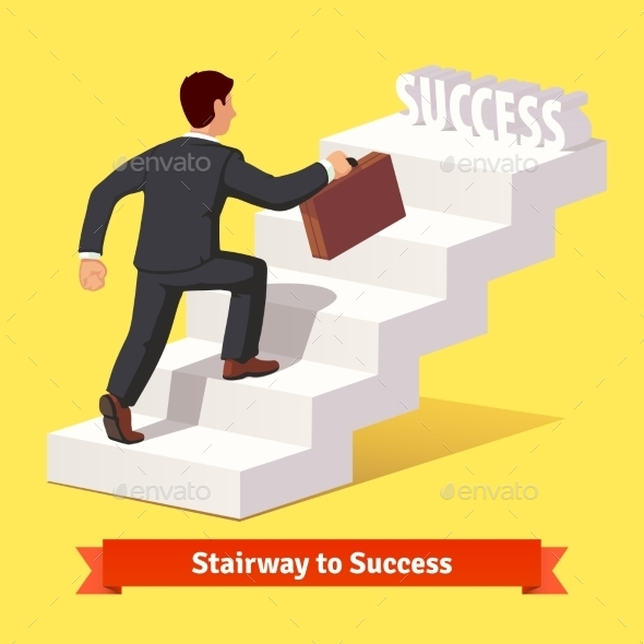 Businessman Climbing The Staircase Of Success - People Characters