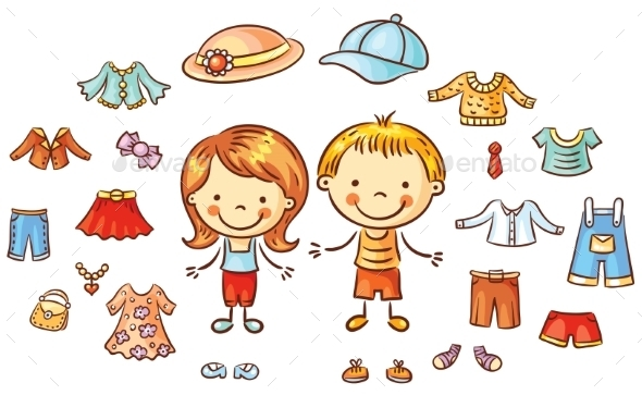 Summer Clothes Set For a Boy And a Girl, Items Can - People Characters