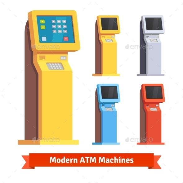 Modern Teller ATM Machine - Technology Conceptual