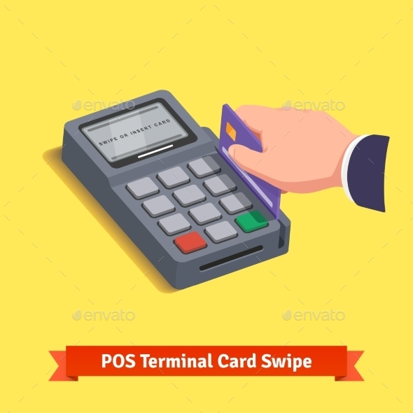 POS Terminal Transaction. Hand Swiping Credit Card - Technology Conceptual