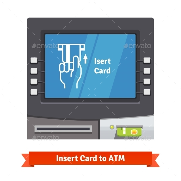 ATM Machine With Current Operation On The Screen - Technology Conceptual