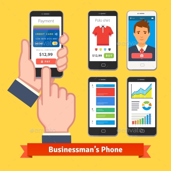 Businessman Holding And Finger Tapping His Phone - Technology Conceptual