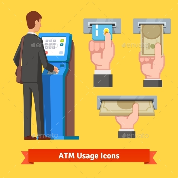 Businessman Using Modern ATM Machine - Business Conceptual