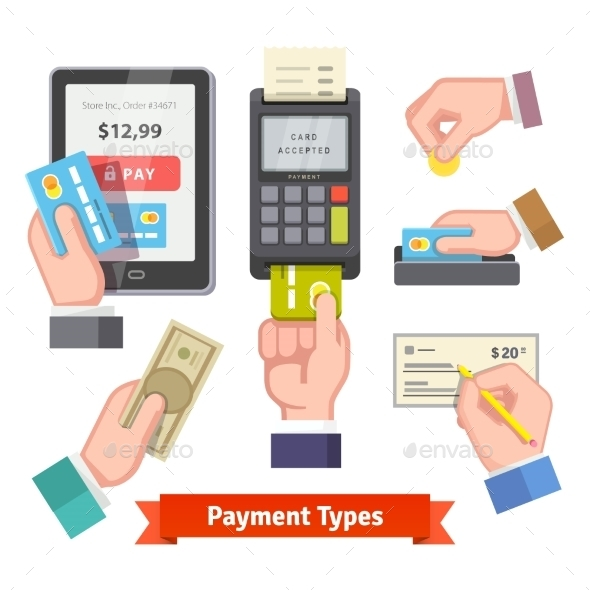 Human Hands Holding Credit Cards Paying With POS - Technology Conceptual