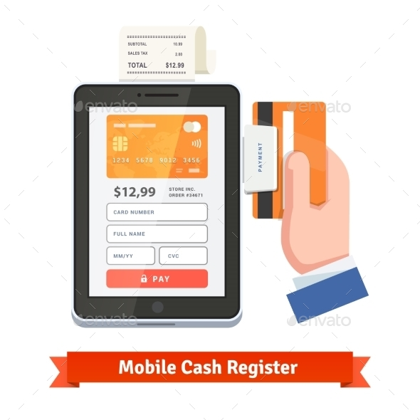 Human Hand Swiping Credit Card On Tablet Dongle - Objects Vectors