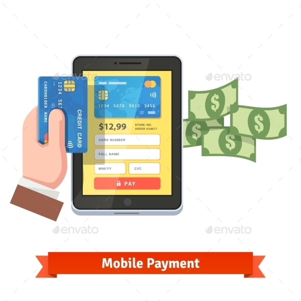 Human Hand Holding Credit Card Over Tablet - Business Conceptual