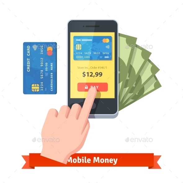 Human Finger Pressing Pay Button On a Smartphone - Concepts Business