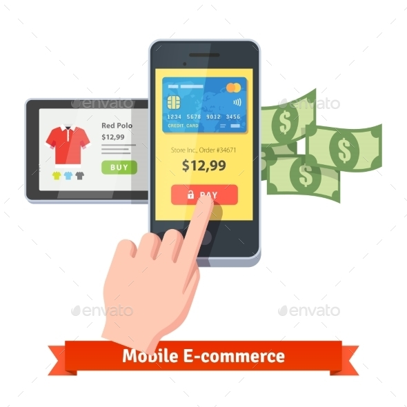 Online Shopping And Mobile Payments Concept - Commercial / Shopping Conceptual