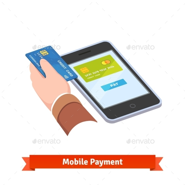 Human Hand Holding Credit Card Over Tablet - Technology Conceptual