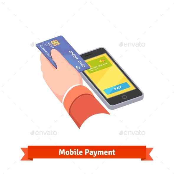 Human Hand Holding Credit Card Over Mobile Phone - Technology Conceptual