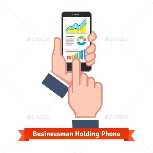 Business Man Hands Holding Phone And Scrolling - Business Conceptual