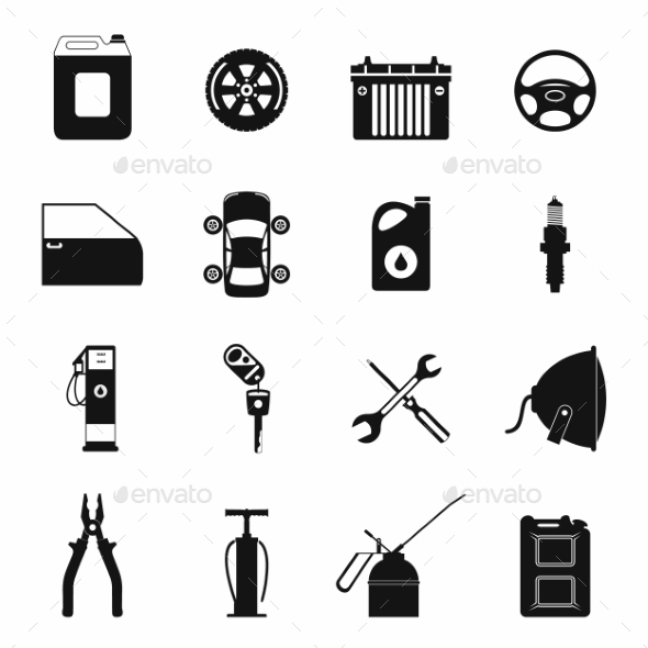 Car Service Maintenance Icons Set - Miscellaneous Icons