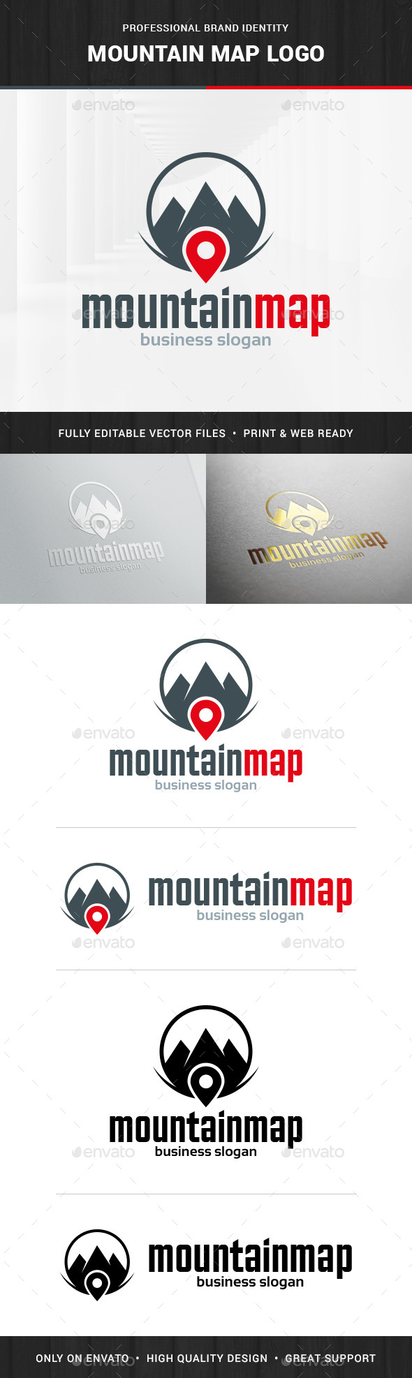 Mountain Map Logo Template - Symbols Logo Templates