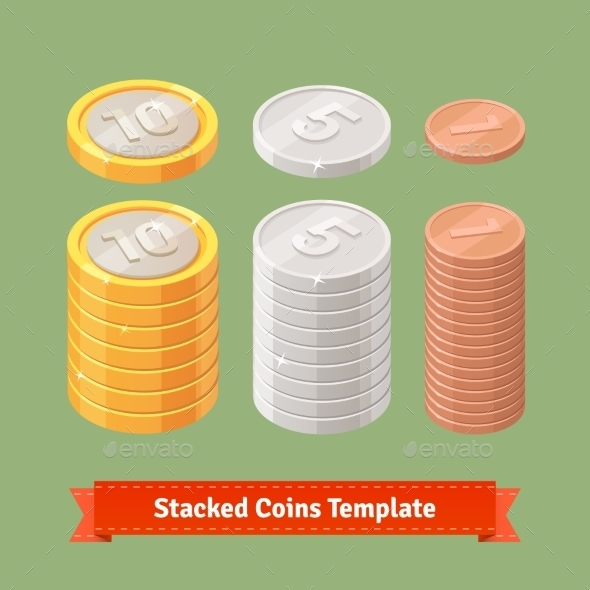 Gold, Silver And Copper Stacked Coins - Objects Vectors