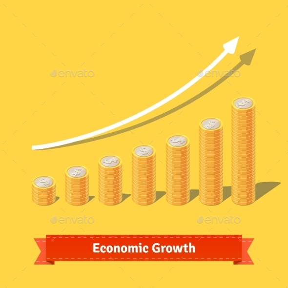 Stacked Coins Growth Chart. Rising Revenue Concept - Concepts Business