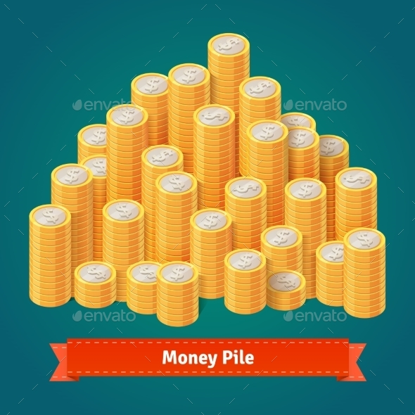Huge Pile Of Stacked Gold Coins. - Objects Vectors