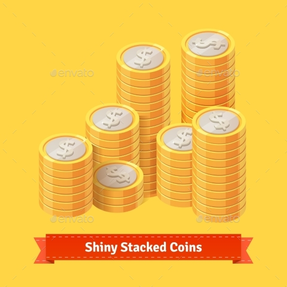 Pile Of Stacked Gold Coins. - Objects Vectors