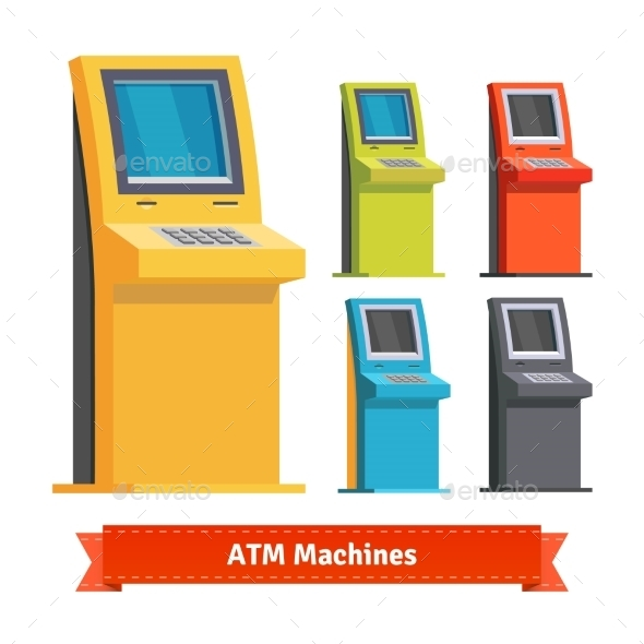 Colorful ATM Machines, Terminals Or Info Kiosks - Technology Conceptual