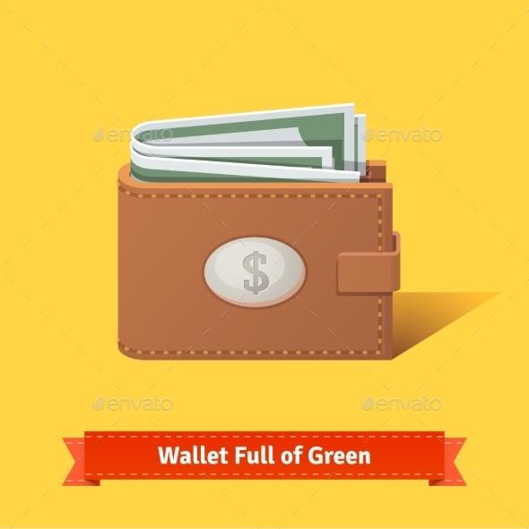Wallet Full Of Green Dollars - Objects Vectors