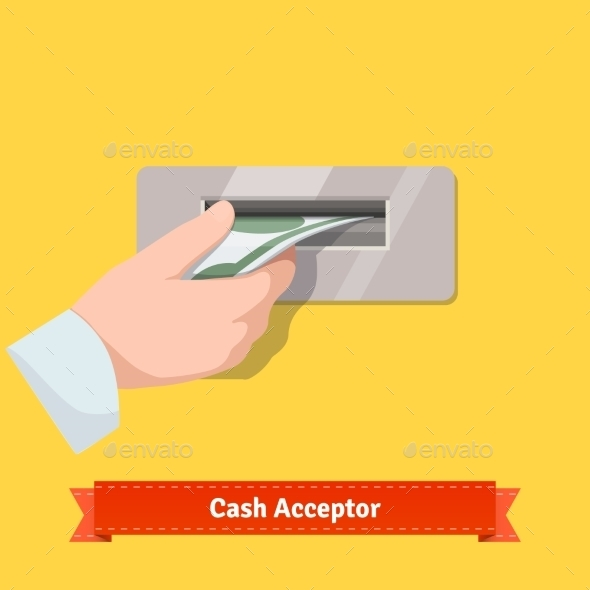 Human Hand Putting Banknote To a Cash Validator - Technology Conceptual